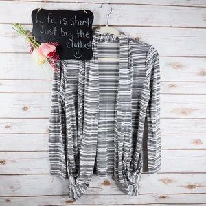 41 Hawthorn stripe draped open front cardigan